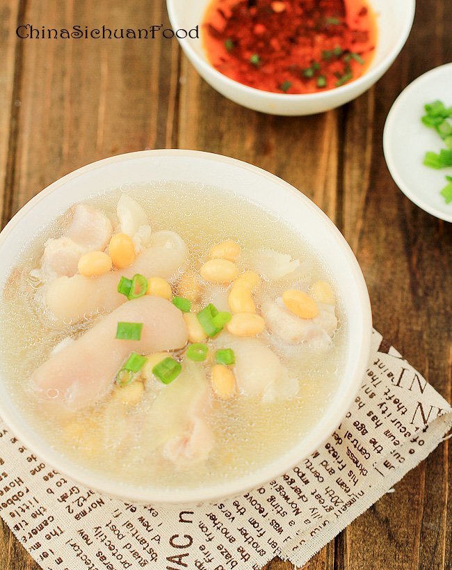 pig trotters soup with soy beans