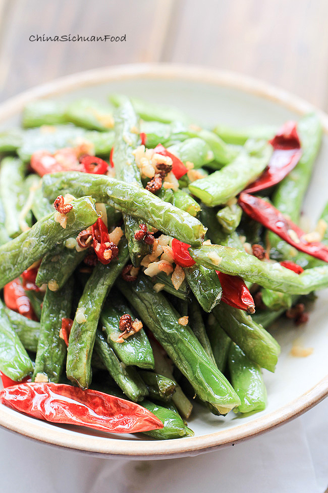 ... red onion sichuan dry fried long beans easy sichuan dry fried green