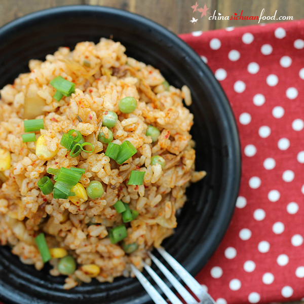 Super easy and great flavor kimchi fried rice.