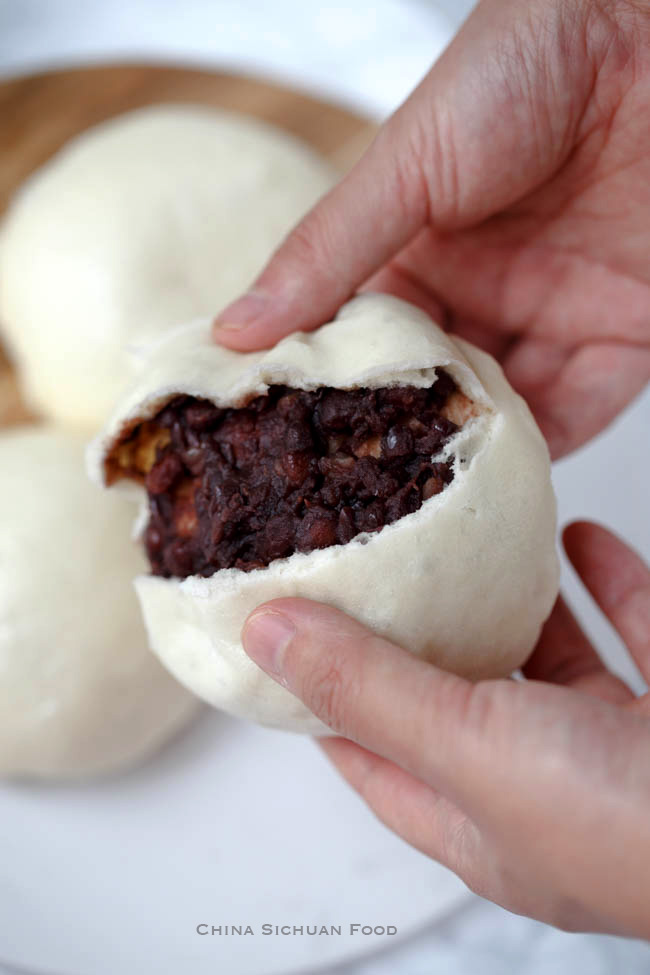 Homemade Red Bean Buns Dou Sha Bao China Sichuan Food