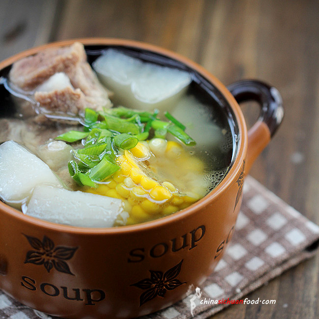 Healthy Pork Soup With Radish And Corn China Sichuan Food