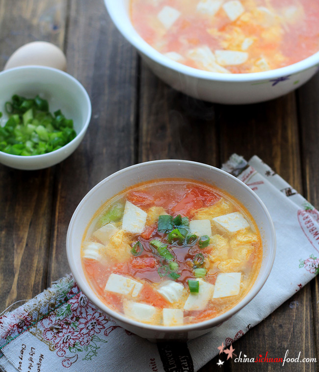 Tofu Egg Soup with Tomatoes