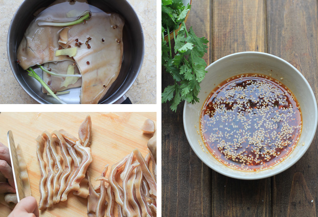 Chinese pig ear salad steps
