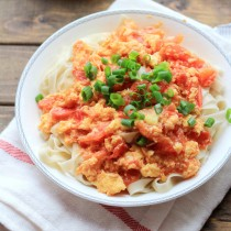 Tomato Noodles with Fried Egg