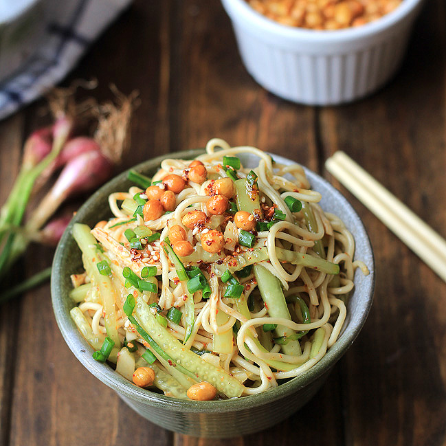 Sichuan style chicken cold noodle salad using combined Sichuan style ...