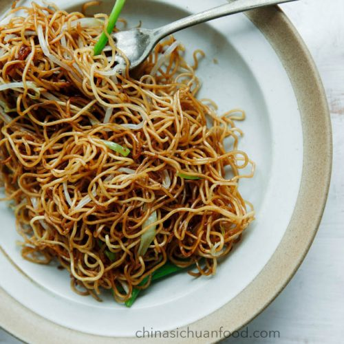 Soy Sauce Pan Fried Noodles Cantonese Chow Mein China Sichuan Food