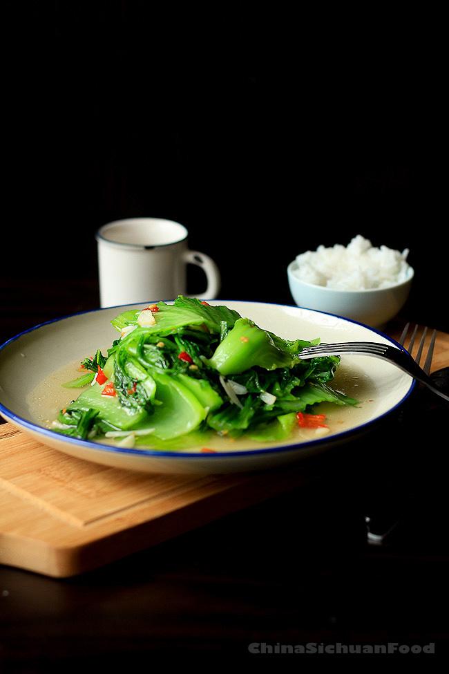 healthy mustard green stir fry