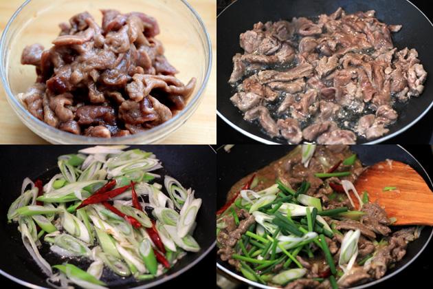scallion beef stir fry-Chinese Mongolian Beef