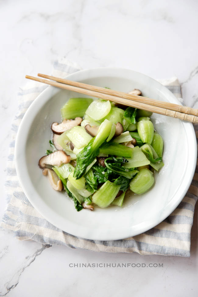 bok choy with mushrooms|chinasichuanfood.com