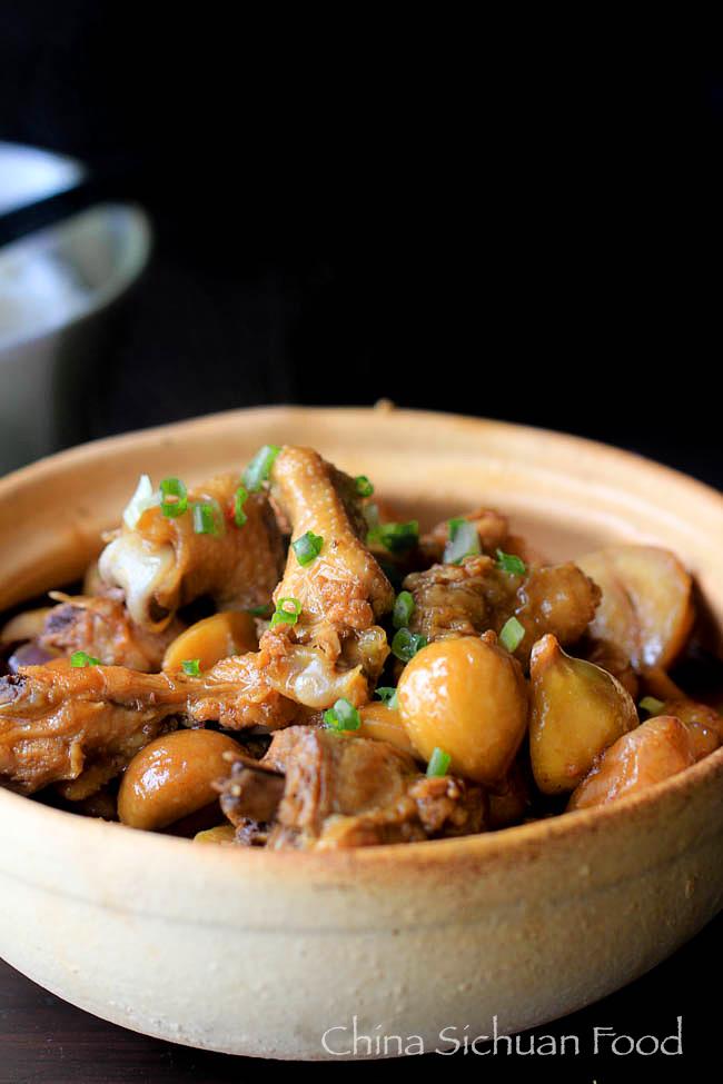 braised chicken with chestnut china sichuan food
