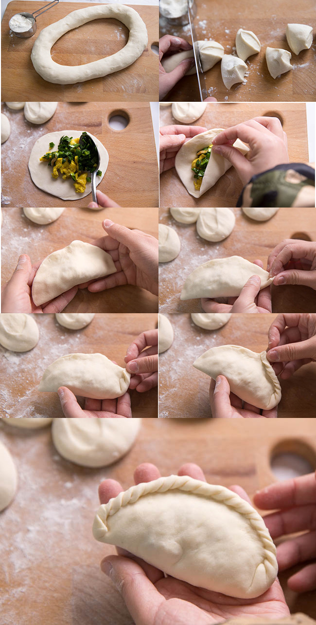 how to assemble chive and egg dumplings