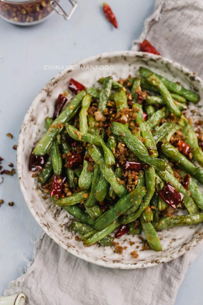 Szechuan dry-fried green beans quick version| chinasichuanfood.com