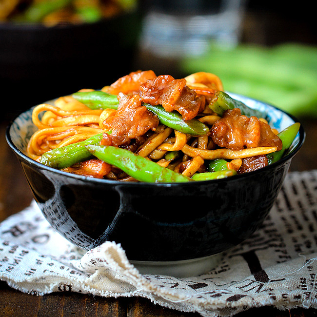 Braised Noodles With Green Beans China Sichuan Food