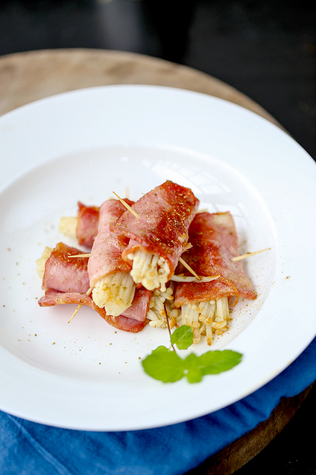 enoki mushroom wrapped by bacon