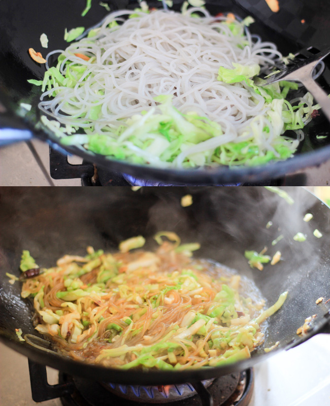 glass noodle and shredded cabbage stir fry step3