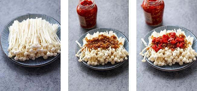 steamed enoki mushrooms