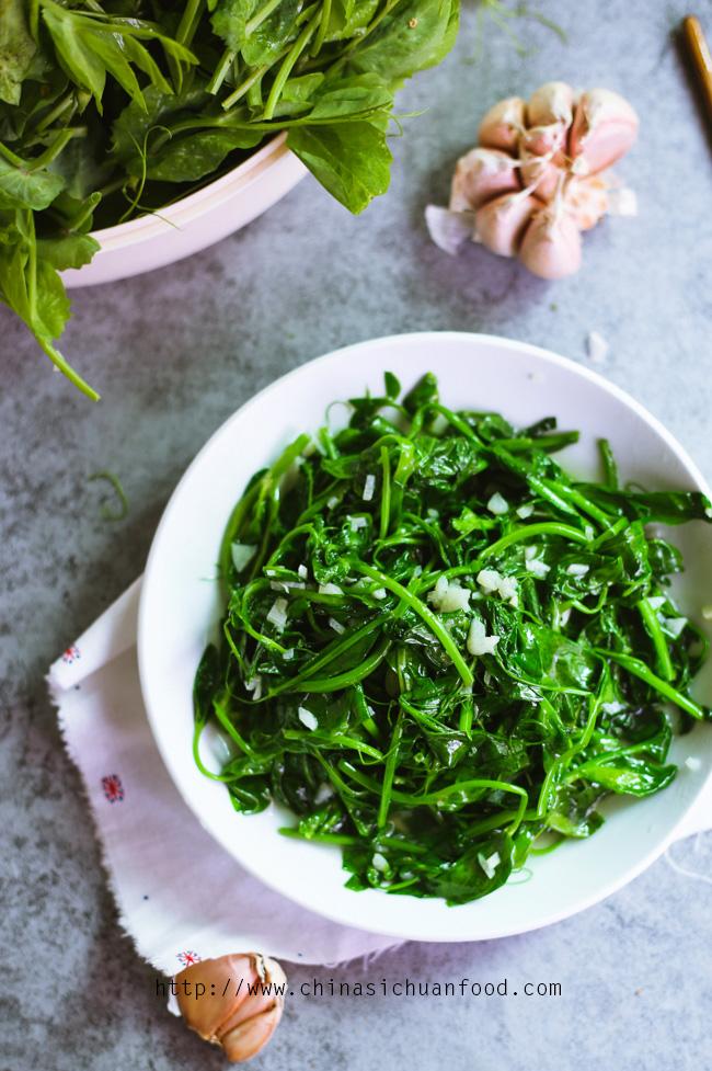 Snow Pea Leaves Stir Fried with Garlic