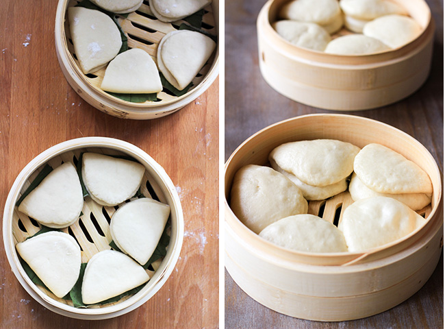 steamed lotus leaf buns step