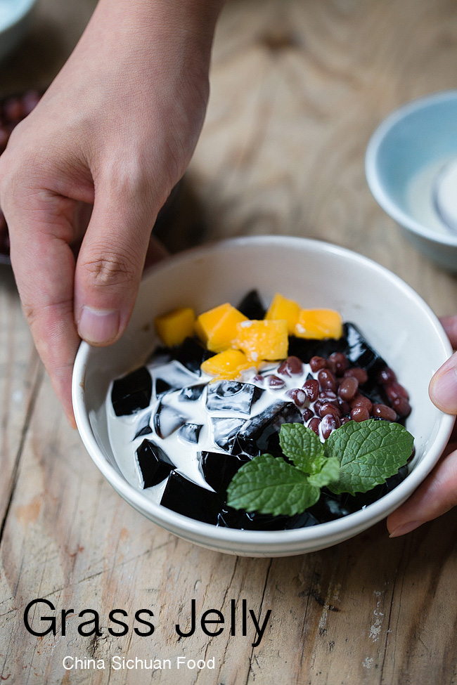 grass jelly with sweetened red beans