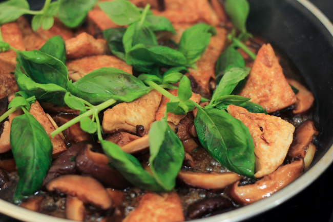 Braised tofu with Chinese mushroom and basil