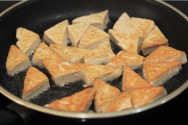 Braised tofu with Chinese mushroom and basil