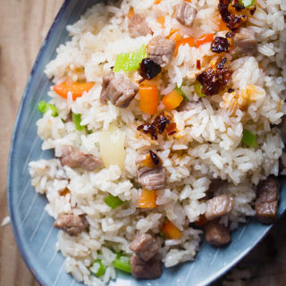 Garlicky Beef Fried Rice