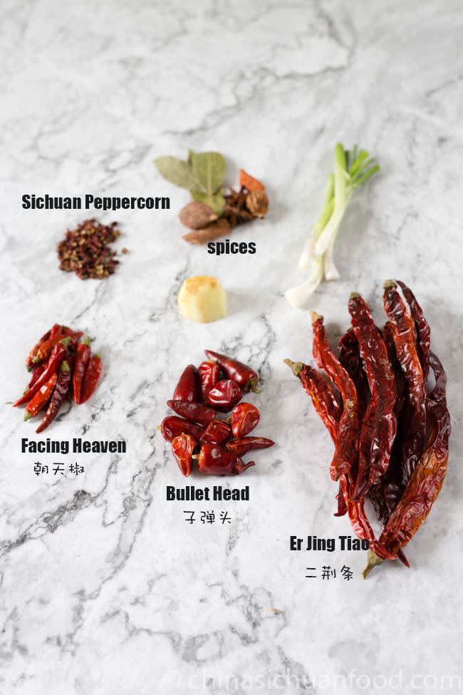 Chili oil from dried whole peppers ingredients | chinasichuanfood.comChili oil from dried whole peppers ingredients | chinasichuanfood.com