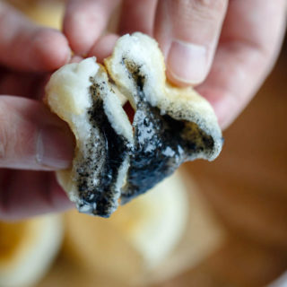 Sticky Rice Cake with Black Sesame Filling
