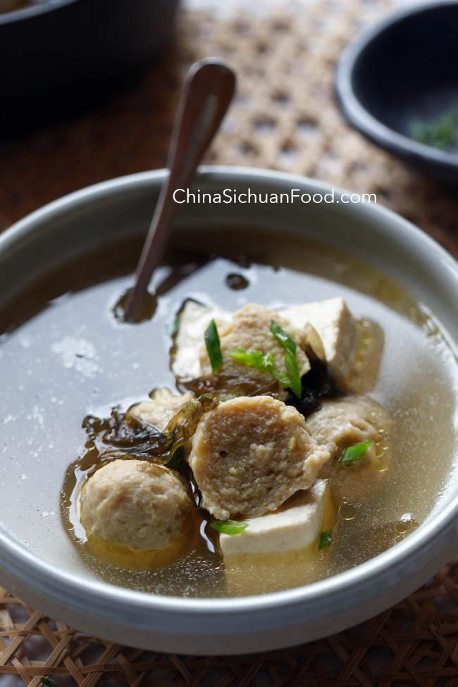 Tofu and Meatball soup|chinasichuanfood.com