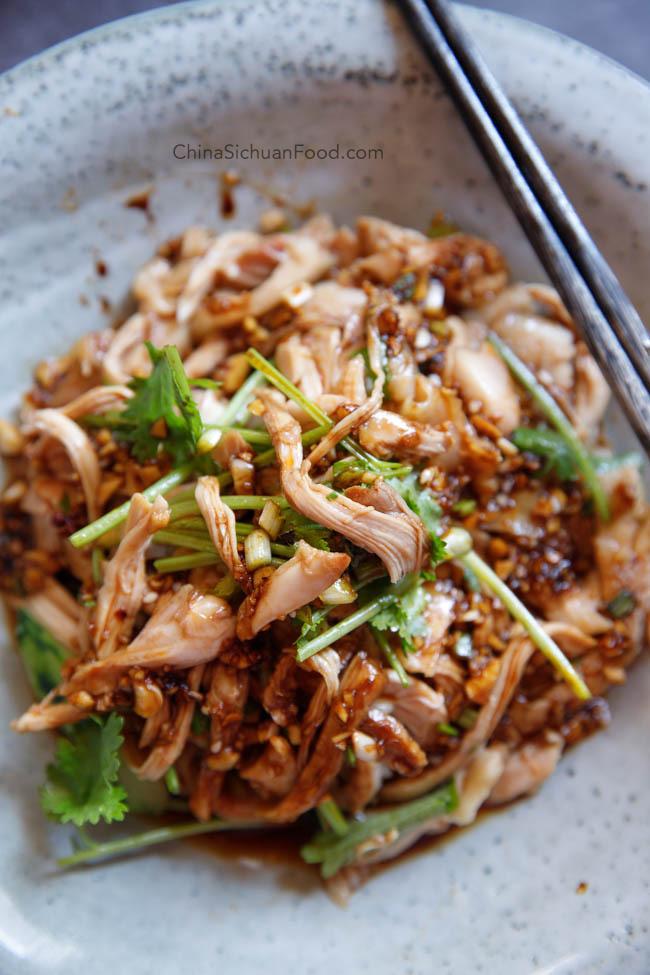 Shredded chicken in garlic sauce|chinasichuanfood.com